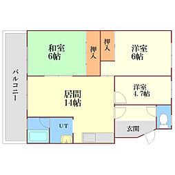 ユーハイツ恵[3階]の間取り