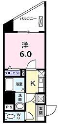 エルシェ横濱 2階1Kの間取り