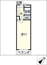 Uマンション阿倉川[2階]の間取り