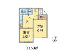 千葉県松戸市小金原の賃貸アパートの間取り