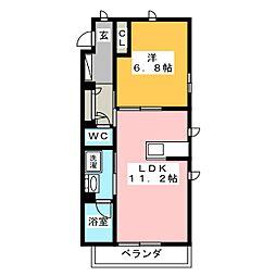 ハリアーナ鎌倉 2階1LDKの間取り