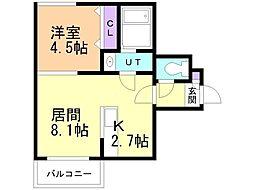 Leia札幌 2階1LDKの間取り