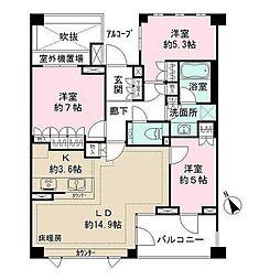 東京都世田谷区岡本2丁目の賃貸マンションの間取り