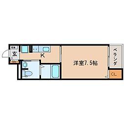 JR東海道本線 静岡駅 徒歩17分の賃貸マンション 1階1Kの間取り