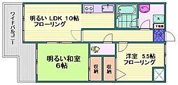 都営三田線 西巣鴨駅 徒歩8分の賃貸マンション 3階2LDKの間取り
