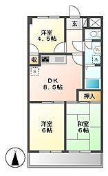 ロイヤルシティー松本[1階]の間取り