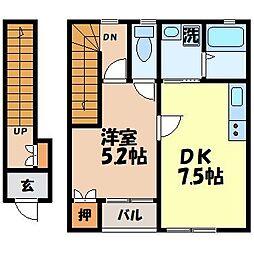 アイハウス栄田B 2階1DKの間取り