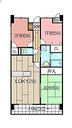 サンシティ小倉東[203号室]の間取り