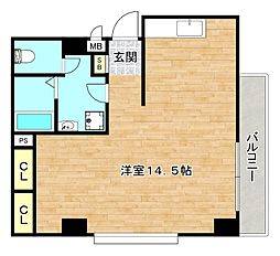 Osaka Metro谷町線 関目高殿駅 徒歩1分の賃貸マンション 5階ワンルームの間取り