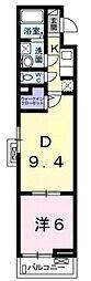 エスタリオコート 3階1DKの間取り