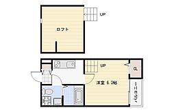 大阪府大阪市平野区長吉六反2丁目の賃貸アパートの間取り