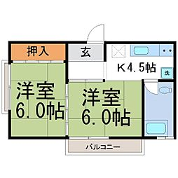 京マンション[2階]の間取り
