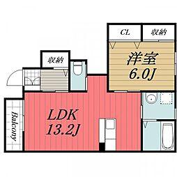 千葉県八街市榎戸の賃貸アパートの間取り