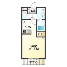 三重県鈴鹿市岸岡町の賃貸アパートの間取り