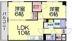 福岡県福岡市博多区月隈6丁目の賃貸マンションの間取り