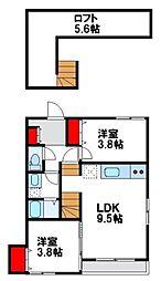 maison de ballon fukutu(メゾン ド 2階2LDKの間取り