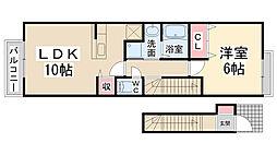 ヴィオラ東多田壱番館[203号室]の間取り