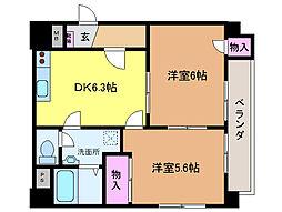 愛媛県松山市束本2丁目の賃貸マンションの間取り