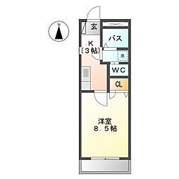ジュネッセシマ 2階1Kの間取り