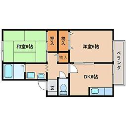 奈良県生駒郡三郷町勢野東2丁目の賃貸アパートの間取り