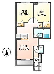 メゾン アンソレイエ B[1階]の間取り