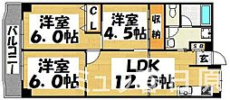 福岡県春日市須玖北4丁目の賃貸マンションの間取り
