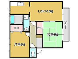 兵庫県姫路市名古山町の賃貸アパートの間取り