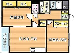 福岡県北九州市八幡西区永犬丸3丁目の賃貸マンションの間取り