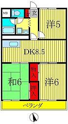 ニュー松戸コーポC棟[1階]の間取り