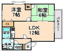 兵庫県伊丹市昆陽2丁目の賃貸アパートの間取り