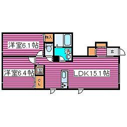 北海道札幌市東区北四十七条東19丁目の賃貸アパートの間取り