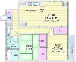 仙台市営南北線 勾当台公園駅 徒歩7分の賃貸マンション 5階2LDKの間取り