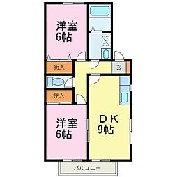 愛知県知多郡武豊町字二ケ崎1丁目の賃貸アパートの間取り