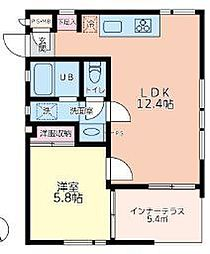 JR横須賀線 新川崎駅 徒歩5分の賃貸マンション 1階1LDKの間取り