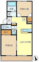 長野ハイツB 102[1階]の間取り