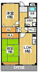 コーポ灰塚 浦[50号室]の間取り