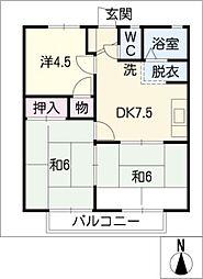 ハイツ・KR A棟[2階]の間取り