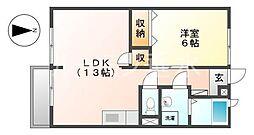 エルディム1[2階]の間取り