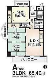 サンローレル 角田3 吉田9分[3階]の間取り