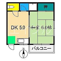 リバープール新田[3階]の間取り