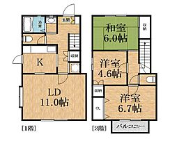 [テラスハウス] 千葉県千葉市緑区大膳野町 の賃貸【/】の間取り