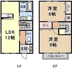 御蔵山テラスハウス[1号室号室]の間取り
