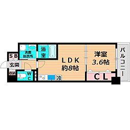 JR片町線(学研都市線) 放出駅 徒歩10分の賃貸マンション 8階1LDKの間取り