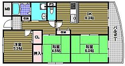 ルヴニール北野田[1階]の間取り
