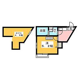 マ・ピエス西生田5 2階1Kの間取り