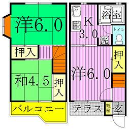 [テラスハウス] 千葉県野田市山崎貝塚町 の賃貸【/】の間取り