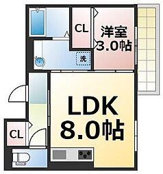 生野区桃谷D-room 3階1LDKの間取り