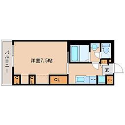 JR東海道・山陽本線 立花駅 徒歩9分の賃貸マンション 2階1Kの間取り