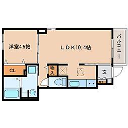 JR東海道本線 清水駅 バス16分 中央共選場前下車 徒歩3分の賃貸アパート 1階1LDKの間取り