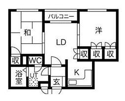 プレアール唐原[3階]の間取り